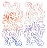 Ornate vintage tracery with watercolor background. Vector element for your creativity Stock Photo