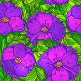 Ornate violet flowers vector seamless pattern stock illustration
