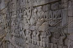 Ornate Wall Carving. In Bayon Temple, Cambodia Royalty Free Stock Photo