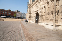 The ornate west facade of the Exeter cathedral Royalty Free Stock Photography