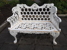 Ornate White Bench. At pottery factory in Northern Ireland Royalty Free Stock Photos