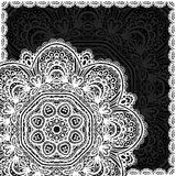 Ornate white and black lacy vector napkin Stock Photos