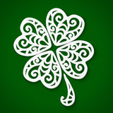 Ornate white cut out paper clover Royalty Free Stock Photography