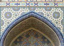 Ornate window niche in the wall, Uzbekistan Stock Images