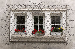 Ornate Window Security Bars. Windows with decorative metal lattice and flowers Stock Image