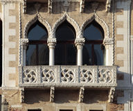 Ornate windows and balcony in Venice, Italy. Royalty Free Stock Photo