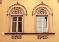 Ornate windows in medieval Innsbruck, Austria. stock image