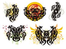 Ornate wings splashes Royalty Free Stock Image