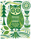 Ornate Woodblock Style Owl Stock Photo