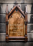 Ornate Wooden Restaurant Sign Royalty Free Stock Images