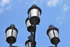 Ornate wrought iron street lamp in Barcelona. Spain Royalty Free Stock Photography