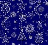 Ornate xmas wallpaper with golden lacy pattern. Ornate xmas blue wallpaper with lacy vintage pattern Stock Photo