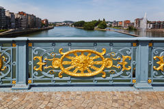 Ornated bridge railing in Liege Stock Photos