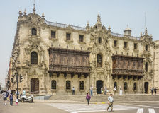 Ornated Building in Plaza Mayor of Lima in Peru Royalty Free Stock Image