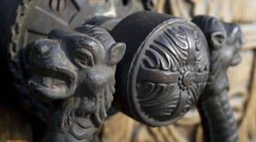 Ornated door hardware lion head. Ornate bronze door hardware of an eastern orthodox church Aleksandar Nevski in Sofia, Bulgaria Royalty Free Stock Images