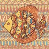 Ornated fish on decorative background. Beautiful ornated fish illustartion in orange, yellow and blue colors on decorative background Royalty Free Stock Photos