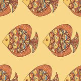 Ornated fish pattern with yellow background Stock Photos