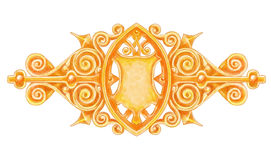 Ornated gold vintage decor with heraldic shield. Royalty Free Stock Images