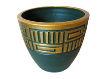 Ornated green ceramic pot isolated over white Royalty Free Stock Images