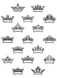 Ornated heraldic crowns set Royalty Free Stock Images