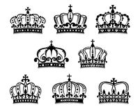 Ornated heraldic royal crowns set Stock Photos