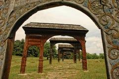Ornated and patterned wooden szekler gates Royalty Free Stock Photography
