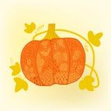 Ornated pumpkin, stylized Halloween card Royalty Free Stock Image