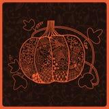 Ornated pumpkin, stylized Halloween card Stock Photo