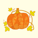 Ornated pumpkin, stylized Halloween card Stock Images