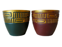 Ornated red and green ceramic pot stock photos