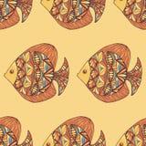 Ornated ryba wzór z żółtym tłem Zdjęcia Stock
