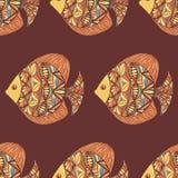 Ornated ryba wzór z brown tłem Fotografia Royalty Free