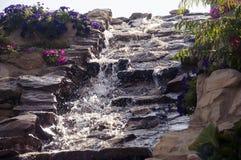 Ornated siklawa w podwórka ogródzie z kwiatami fotografia stock