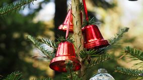 Christmas decoration with red bells royalty free stock photo