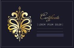 Ornement abstrait d'or Élément d'isolement de conception pour le chèque-cadeau ou l'invitation École de beauté de certificat de m illustration de vecteur