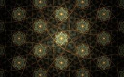 Ornement abstrait de fond d'image, fleurs fantastiques de modèle de couleur vert clair avec les branches brunes sur un fond noir illustration libre de droits