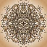 Ornement abstrait de mandala Configuration asiatique Fond authentique de gradient d'or Image libre de droits