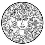 Ornement abstrait de mandala Configuration asiatique Fond authentique noir et blanc Illustration de vecteur Budda font face Photographie stock