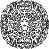 Ornement abstrait de mandala Configuration asiatique Fond authentique noir et blanc Illustration de vecteur Budda font face Image stock