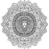 Ornement abstrait de mandala Configuration asiatique Fond authentique noir et blanc Illustration de vecteur Budda font face Photographie stock libre de droits