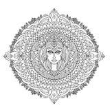 Ornement abstrait de mandala Configuration asiatique Fond authentique noir et blanc Illustration de vecteur Visage de femme Photo libre de droits