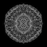 Ornement abstrait de mandala d'isolement sur le fond noir Configuration asiatique Image stock