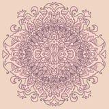 Ornement abstrait de mandala sur le fond rose Configuration asiatique Fond authentique Photos stock