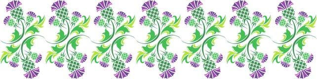 Ornement avec des fleurs de chardon Image stock