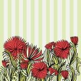 Ornement avec les fleurs rouges et le fond rayé Photographie stock libre de droits