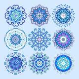 Ornement bleu de dentelle de cercle, patt géométrique ornemental rond de napperon Images libres de droits