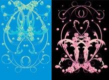 Ornement bleu et rose de fleur Image stock