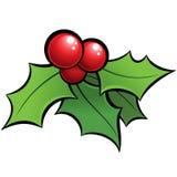 Ornement brillant de Noël de gui de holli de vecteur de bande dessinée avec le bla Images libres de droits