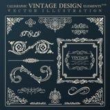 Ornement calligraphique de vintage d'éléments de conception Deco de cadre de vecteur Image libre de droits
