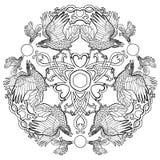 Ornement celtique d'imagination de Viking de corbeaux illustration stock